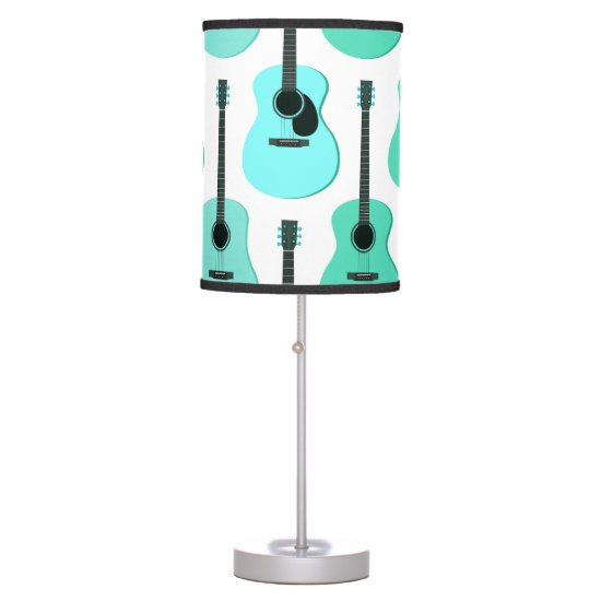 Blue Acoustic Guitars Pattern Table Lamp