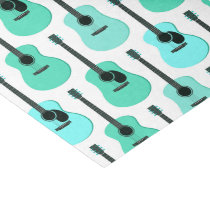 Blue Acoustic Guitars Pattern Tissue Paper