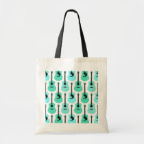 Blue Acoustic Guitars Pattern Tote Bag