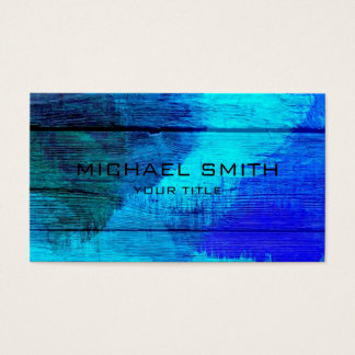 Blue Acrylic Painting on Wood Business Card