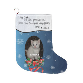 Blue ADD YOUR Cat Photo and Name Dear Santa Large Christmas Stocking
