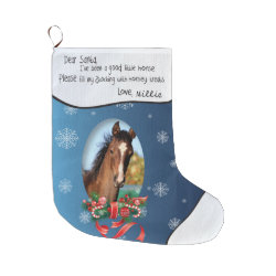 Blue ADD YOUR HORSE Photo and Name Dear Santa Large Christmas Stocking