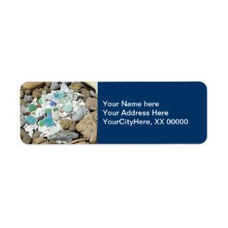 Blue Address Labels Nature beach Shells Rocks