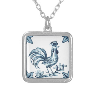 Blue adult male chicken silver plated necklace