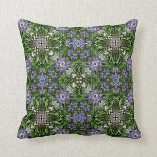 Blue african lilies square pattern throw pillow