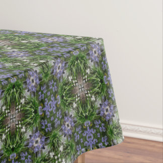Blue african lily flowers kaleidoscope tablecloth
