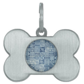 BLUE AFRICAN TEXTILE PET ID TAG