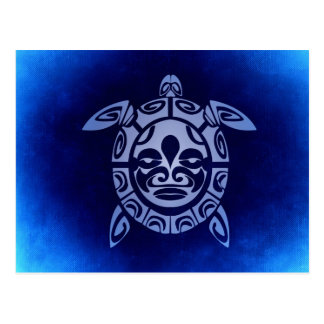 Blue African Tribal Mask Sea Turtle Postcard