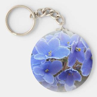Blue African Violets Basic Round Button Keychain