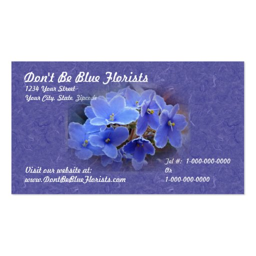 Blue African Violets Business Card Templates