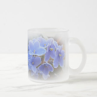 Blue African Violets Frosted Glass Coffee Mug
