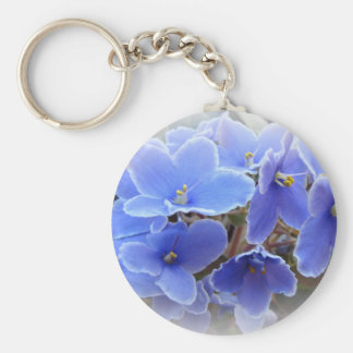 Blue African Violets Keychain