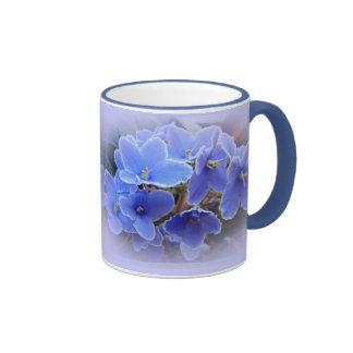 Blue African Violets Ringer Mug