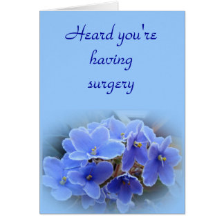 Blue African Violets Surgery get Well Card