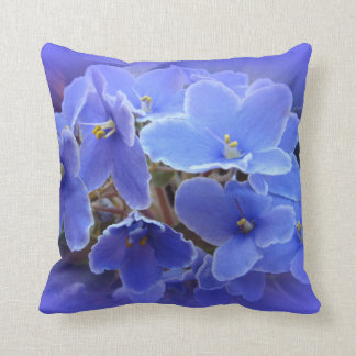 Blue African Violets Throw Pillow