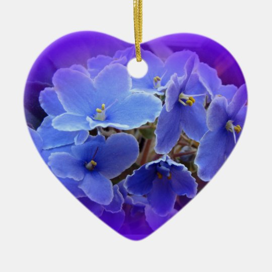 Blue African Violets to Personalize Ceramic Ornament