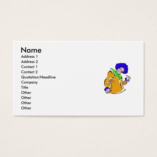 Blue afro clown business card