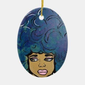 Blue Afro Ebony Girl Big Hair Ceramic Ornament