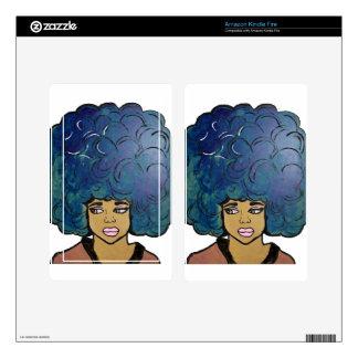 Blue Afro Ebony Girl Big Hair Kindle Fire Skin