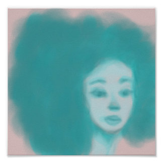 blue afro woman poster