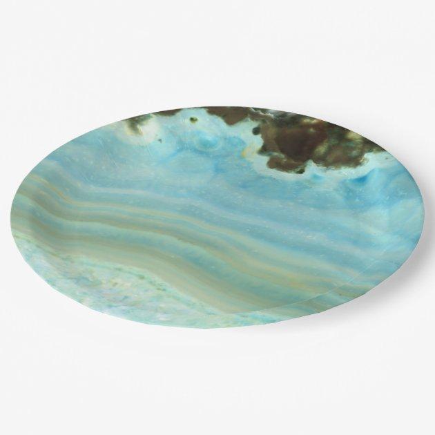 blue agate gemstone princess pattern paper plate