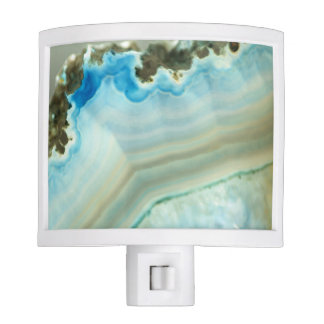 Blue Agate Geode Igneous Rock Crystal Patterns Night Light
