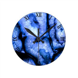 Blue Agate Round Clock