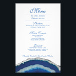 """Blue Agate Wedding Dinner Menu<br><div class=""""desc"""">Blue Agate photograph design by Danielle Fernandez. For matching invitations,  reply cards,  stickers and other items click on the link below to view the entire Blue Agate Collection.</div>"""
