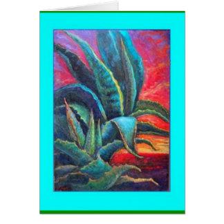 Blue Agave Cacti Sunrise by Sharles Greeting Cards
