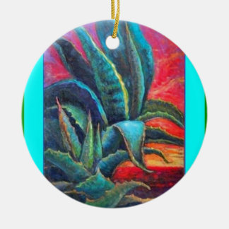 Blue Agave Cacti Sunrise by Sharles Ceramic Ornament