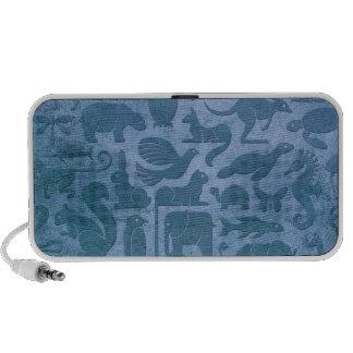 Blue Aged and Worn Animal Kingdom Pattern Travel Speaker
