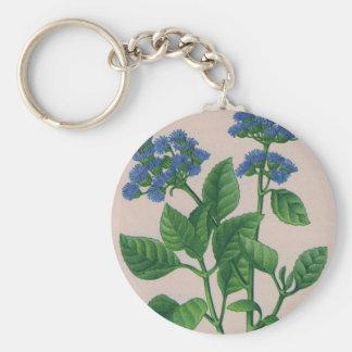 blue ageratum basic round button keychain