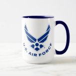 Blue Air Force Logo & Name Mug