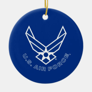 Blue Air Force Logo & Name with Outline Ceramic Ornament