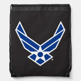 Blue Air Force Logo & Star Drawstring Backpack
