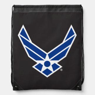 Blue Air Force Logo & Star Drawstring Bags