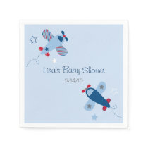 Blue Airplane Baby Shower Paper Napkin