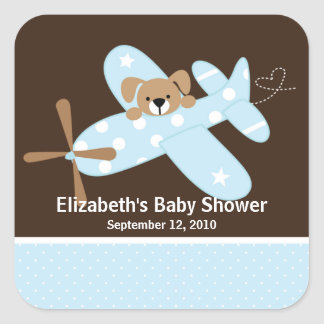 Blue Airplane Baby Shower Square Sticker!