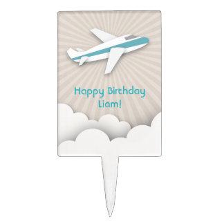 Blue Airplane Birthday Cake Pick