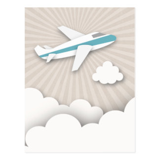 Blue Airplane Birthday Party Postcard