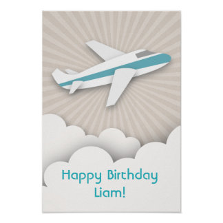 Blue Airplane Birthday Poster