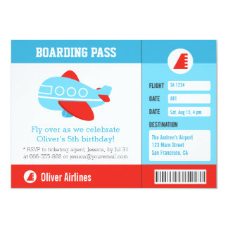 Blue Airplane Boarding Pass Birthday Party Custom Announcement