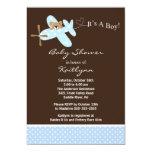 Blue Airplane Boy Baby Shower Invitation