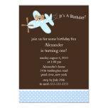 Blue Airplane Boy's Birthday Invitation