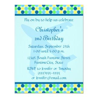 Blue Airplane dots boys Birthday Party Invitation