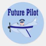 Blue Airplane Future Pilot Classic Round Sticker