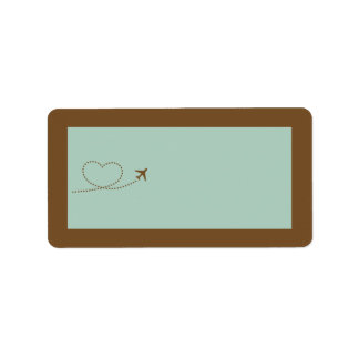 Blue Airplane Heart Wedding Mailing Address Label