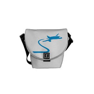 Blue airplane messenger bags