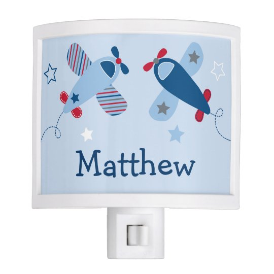 Blue Airplane Nursery Night Light