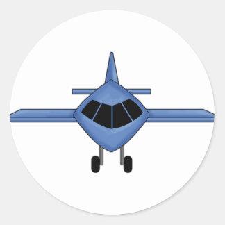 Blue Airplane Round Stickers